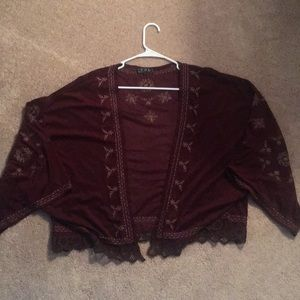 Other - Burgundy embroidered throw-over NEVER WORN